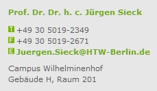 HTW Berlin Kontakt Prof Sieck